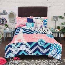 Coral Colored Bedding by Paris Eiffel Tower In Love Blue Coral Comforter Sheets Bedskirt
