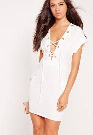 crepe eyelet lace up bodycon dress white missguided