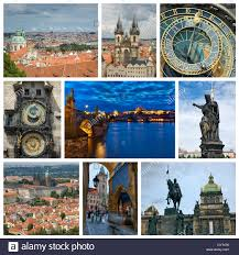 Photo Collage From Prague Czech Republic Includes Major Landmarks Of The City
