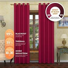 Burgundy Grommet Blackout Curtains by Linen Source Nicole Solid Thermal Insulated Grommet Blackout
