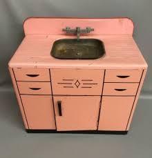 Vintage 50s Wolverine Pink Metal Childrens Tin Toy Kitchen Sink Cabinet