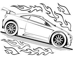 Hot Wheels Track Race Two Car Coloring Page Speed