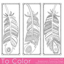Feathers Coloring Page Bookmarks In Bookmark Pages