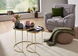wohnling design 2 satztisch cora schwarz gold beistelltisch metall glas
