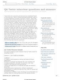 QA Tester Resume Sample | Selenium (Software) | Software Testing