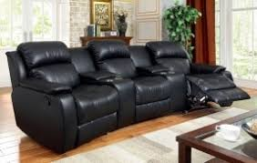 Theater Sectional Sofa Five Pcs Castlegar Traditional Style Rustic Black Bonded Leather Match Sectionals With Recliners
