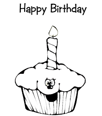 Kids Happy Birthday Cupcake Coloring Pages