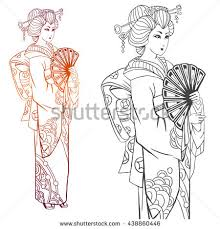 Japanese Women In Kimono Adult Coloring Book Pages Or Tattoo Ink Illustration Contour