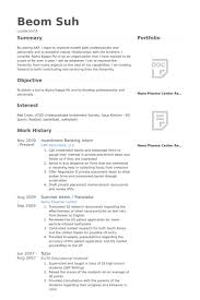 Investment Banking Intern Resume Example