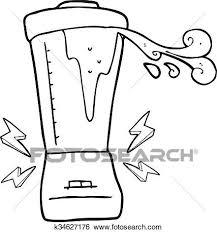 Clip Art Of Black And White Cartoon Blender Gone Crazy K34627176