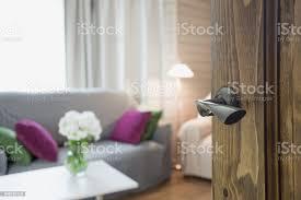 holztür moderne wohnzimmer interieur mit stuhl weichen diwan und blumenstrauß einem weißen blüten geöffnet stockfoto und mehr bilder abstrakt