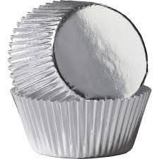 Silver Metallic Foil Standard Cupcake Liners Baking Cups