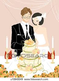 Stock Illustration Couple cutting their wedding cake Fotosearch Search Vector Clipart Drawings