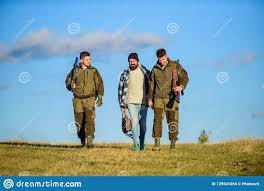100 Gamekeepers Brutal Hobby Group Men Hunters Or Nature Background