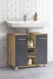 waschbeckenunterschrank mit 2 türen und 3 fächern mittig bad kao korpus alteiche melamin front graphit dekor