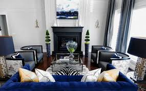 Black And White Living Room With Blue Brown Combination