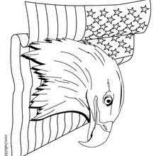 Bald Eagle And US Flag Coloring Page