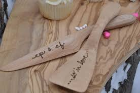 Wedding Cake Server Set Knife Personalized Wood Gift Rustic Serving Cutter Bridal Shower