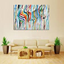 großhandel bunte pferd handgefertigte ölgemälde zebra leinwand kunst bilder für wohnzimmer wanddekoration kein rahmen paintingart2017 29 69 auf