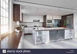 Modern White Kitchen Interior 3d Rendering Stockfoto Und Modern Kitchen Interior 3d Rendering Design Concept Stock