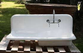 vintage porcelain kitchen sink with drainboard kitchen sink