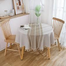 runde tischdecke im boho chic style in beige mit quasten