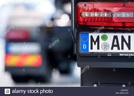 100 Truck Licence 16 April 2018 Germany Munich The Letters MAN On The Licence