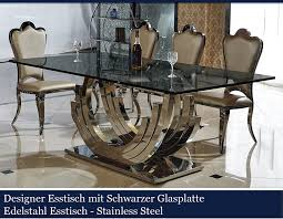 designer esstisch schwarz edelstahl esszimmer tisch glastisch glas hochglanz schwarzer glasplatte 200cmx100cmx75cm