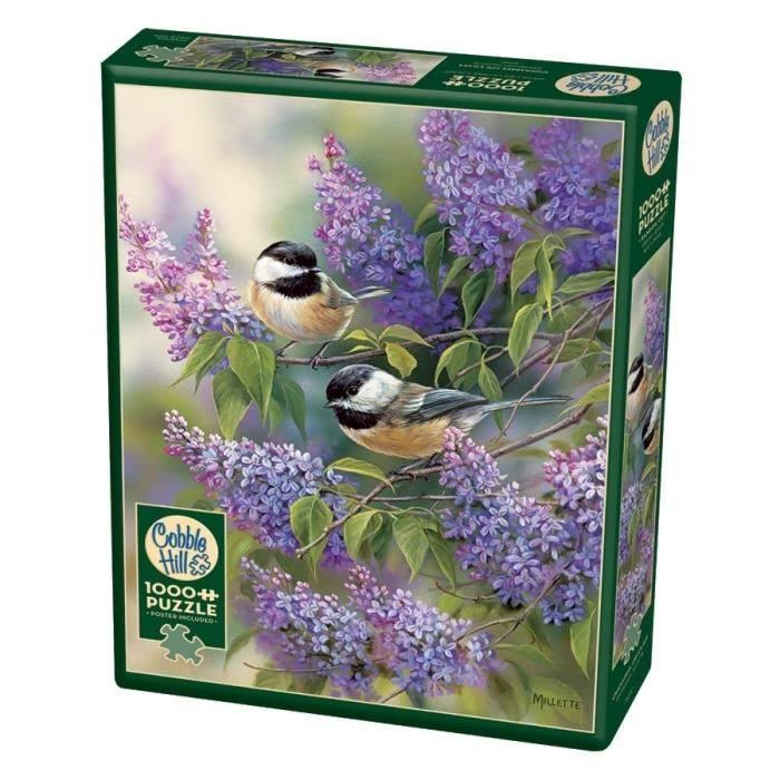 Cobblehill 80112 1000 PC Chickadees and Lilacs Puzzle, Various
