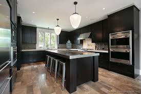 KitchenNeat Looking Dark Kitchen Design With Grey Bar Stool And U Shape Black