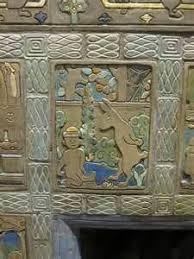 detail pewabic tiles at fireplace former children s reading room