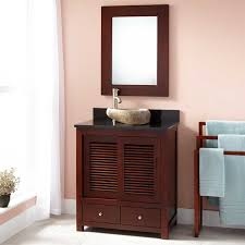 Narrow Depth Bathroom Vanity by Bathroom Brown Polished Wooden Narrow Depth Bathroom Vanity With