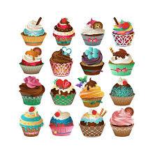 Susse Cupcake ClipArt Set Mit 16 PNG JPG Und Vektor Cupcakes