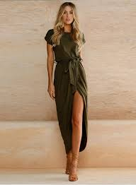 short sleeve high slit solid maxi dress with belt novashe com