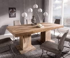 esszimmertisch indra sheesham natur 200x100 cm massivholz säulentisch esstisch