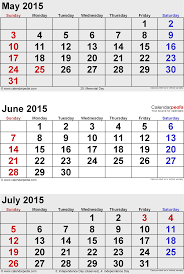 July 2015 Calendars For Word Excel PDF