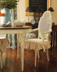 Classic Vintage Look White Wood Dining Chairs With Short Skirt Seat Cushion Slipcovers For Room