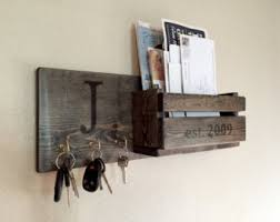 Rustic Monogram Mail And Key Holder In Ebony Letter Organizer Personalized Wedding
