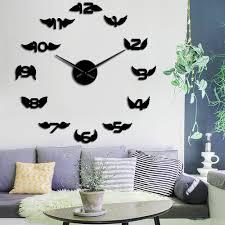 diy dekorative engel digital flügel acryl spiegel wanduhr europäischen stil wohnzimmer übergroßen wanduhr