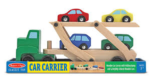 amazon com melissa u0026 doug car carrier truck and cars wooden toy
