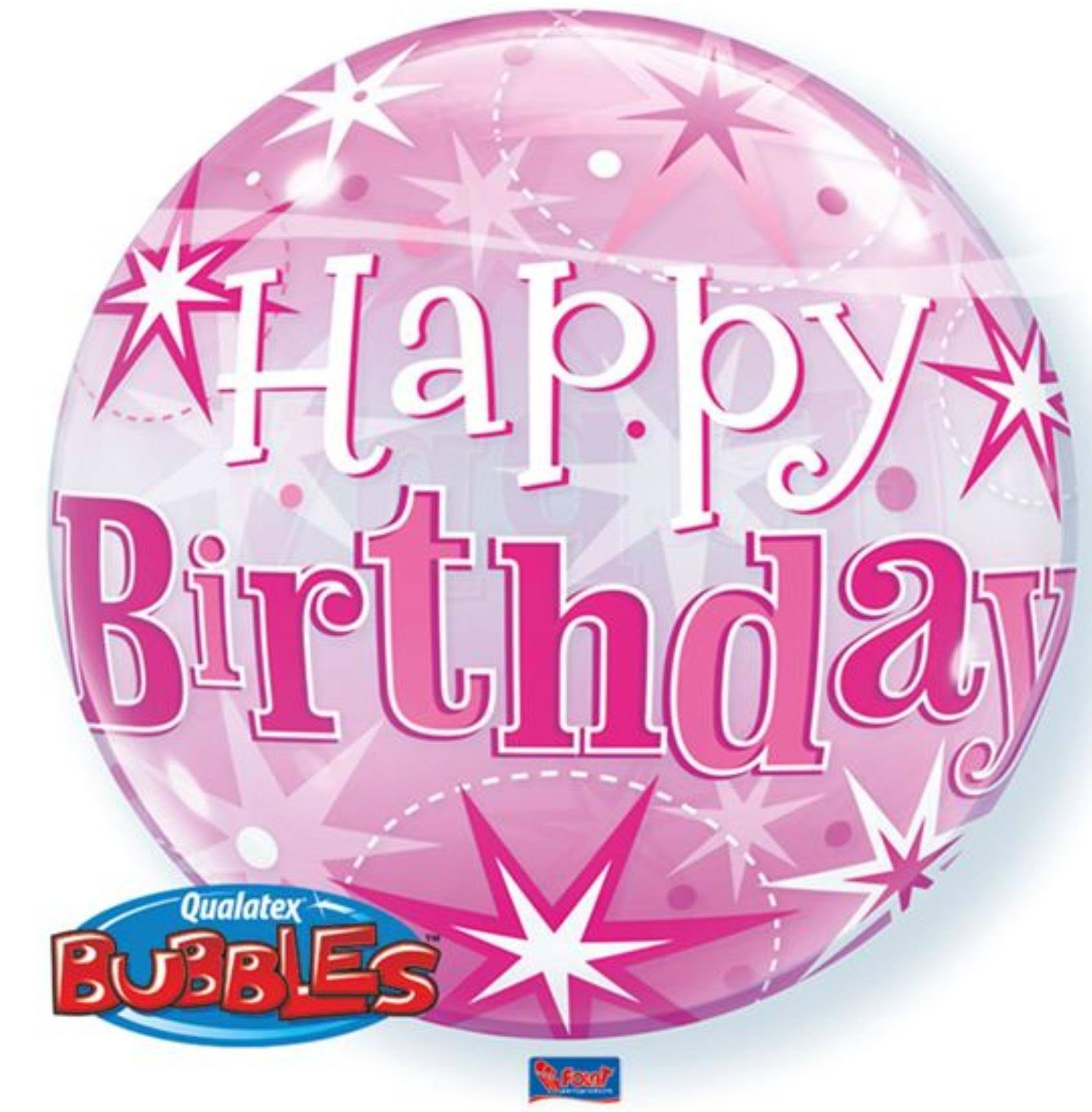 Pink Happy Birthday Balloon Bubble Qualatex