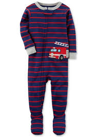Carter's Carter's Firetruck Stripe-Print Footed Cotton Pajamas, Baby ...