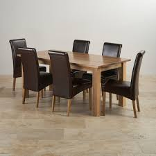 100 Oak Table 6 Chairs Contemporary Dining Set In Natural Ft