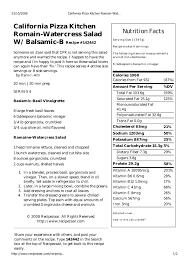 California Pizza Kitchen Romain Watercress Salad Wth Balsamic