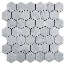 2 Hexagon Pattern Italian White Carrara Marble Polished Mosaic Tile