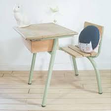 bureau d 馗olier ancien en bois 1 place bureau d enfant pupitre d écolier vintage rénové par chouette