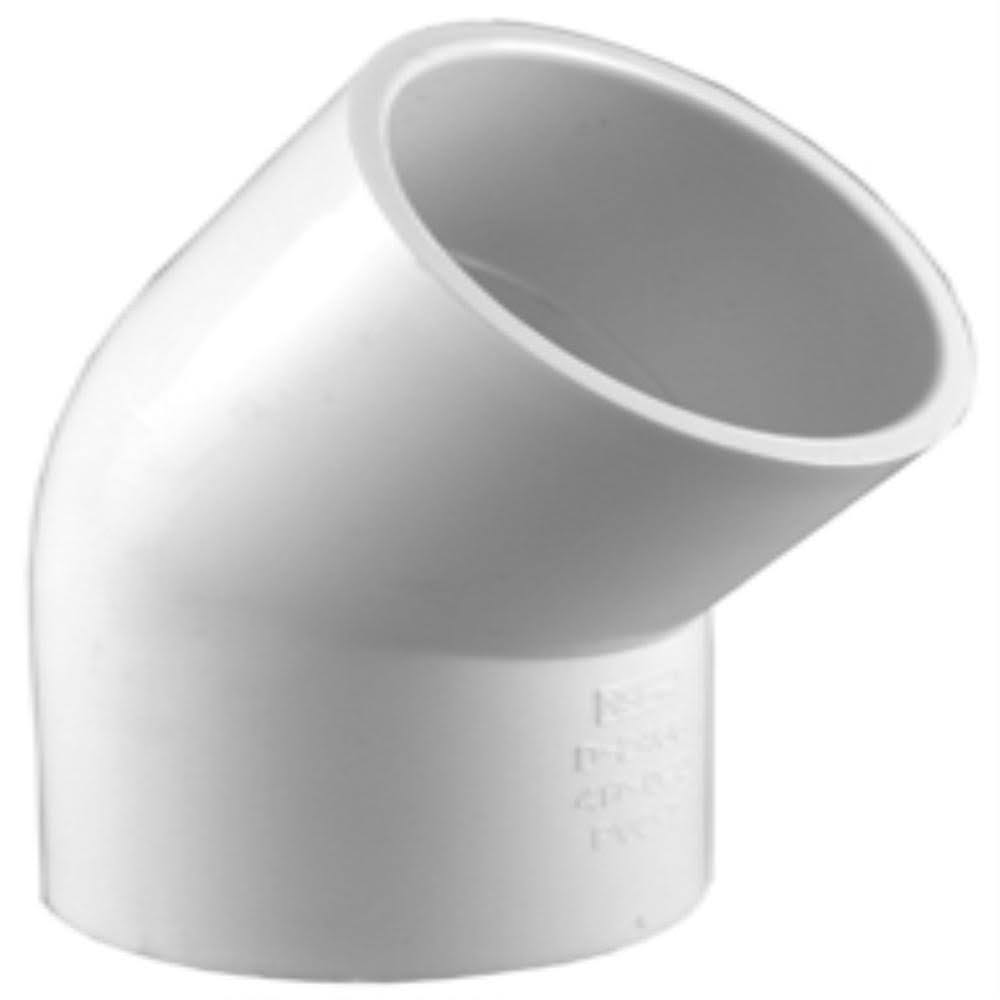 Charlotte Schedule 40 PVC 45-Degree Pipe Elbow - White, 1-1/4in