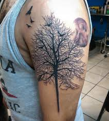 Tree Birds Tattoo Design For Men