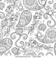 Doodle Seamless Pattern Paisley Hand Drawn Background Indian Motif Ornament Vector