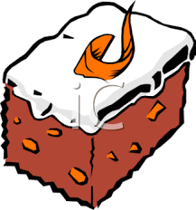 Description This clip art illustration is of a piece of carrot cake This image shows a square slice of carrot cake with cream cheese icing